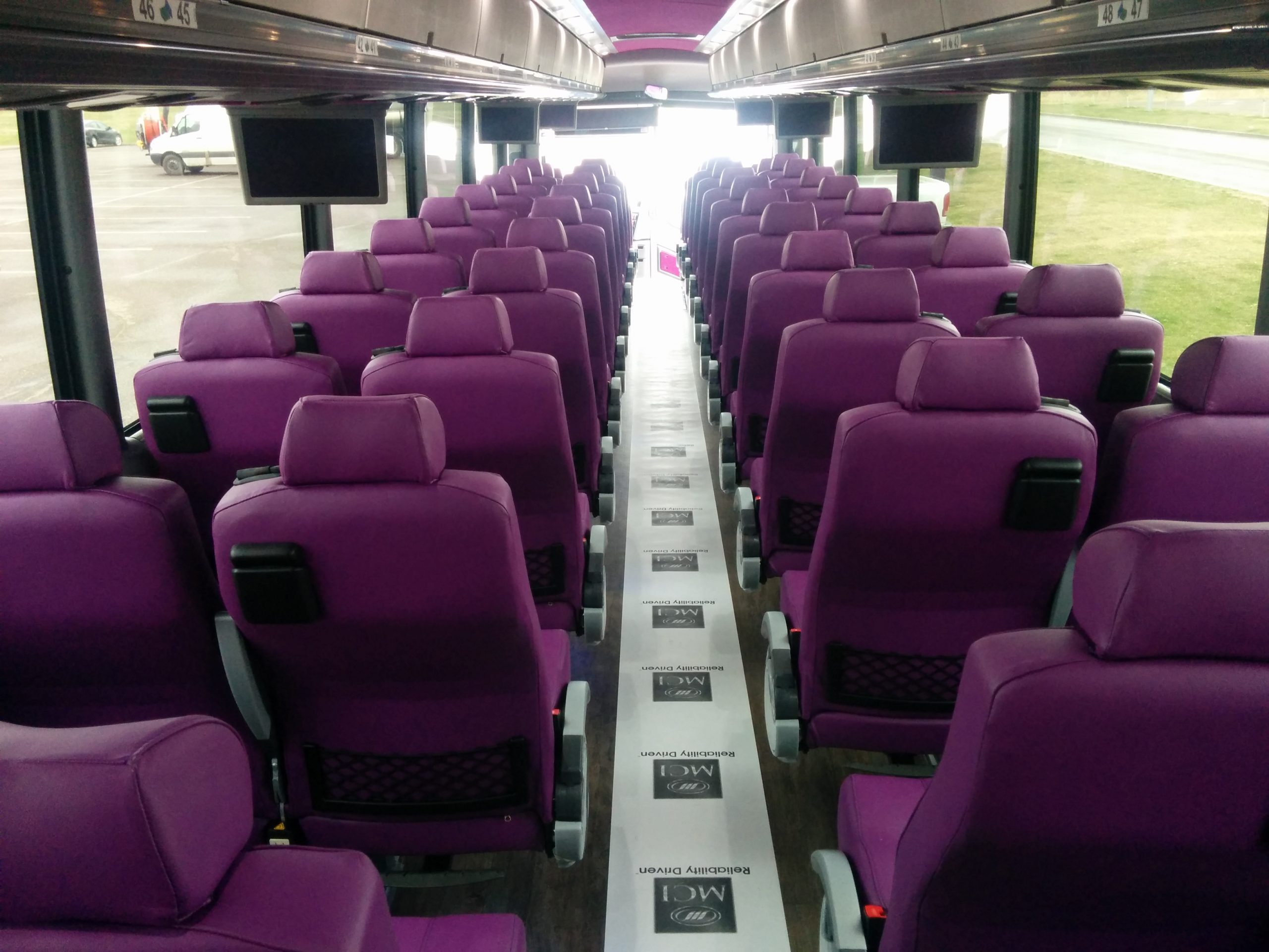 interior view of 54 passenger coach from rear