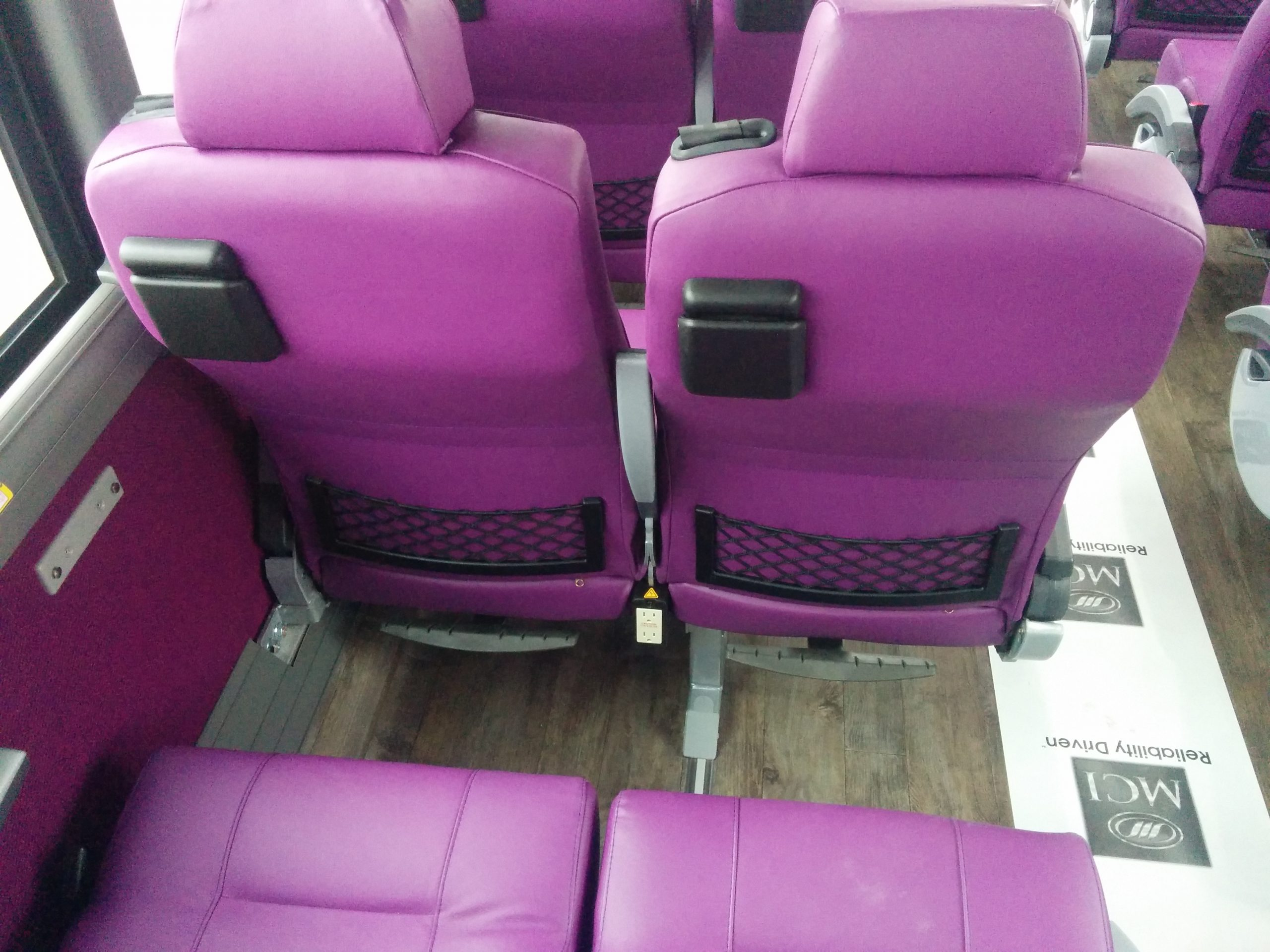 features/amenities at each seat 54 passenger coach