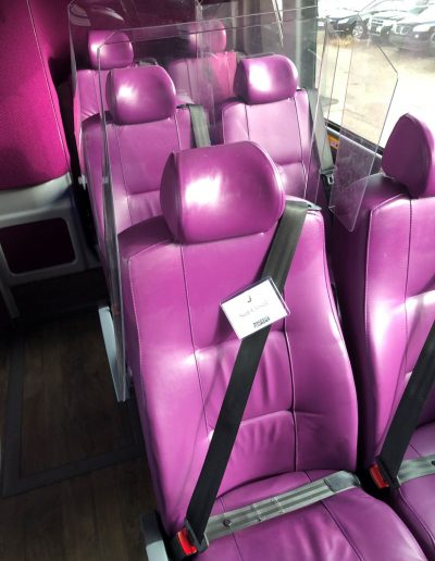 Rows of seats blocked provides safe social distancing on board the coach