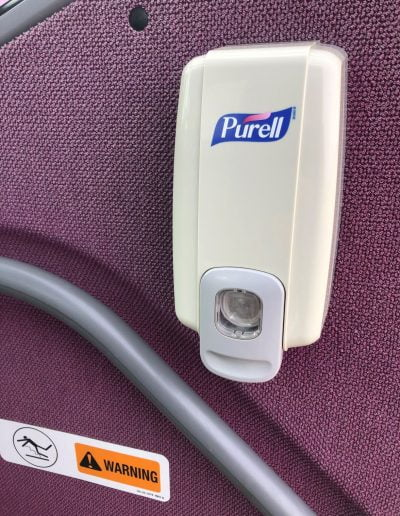 Hand Sanitizer stations on the door and in the restroom help passengers with hand sanitation