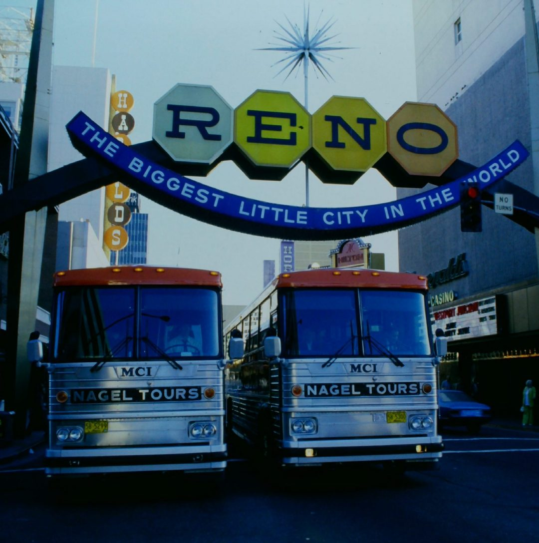Two Nagel Coaches under Reno Arch 1980s