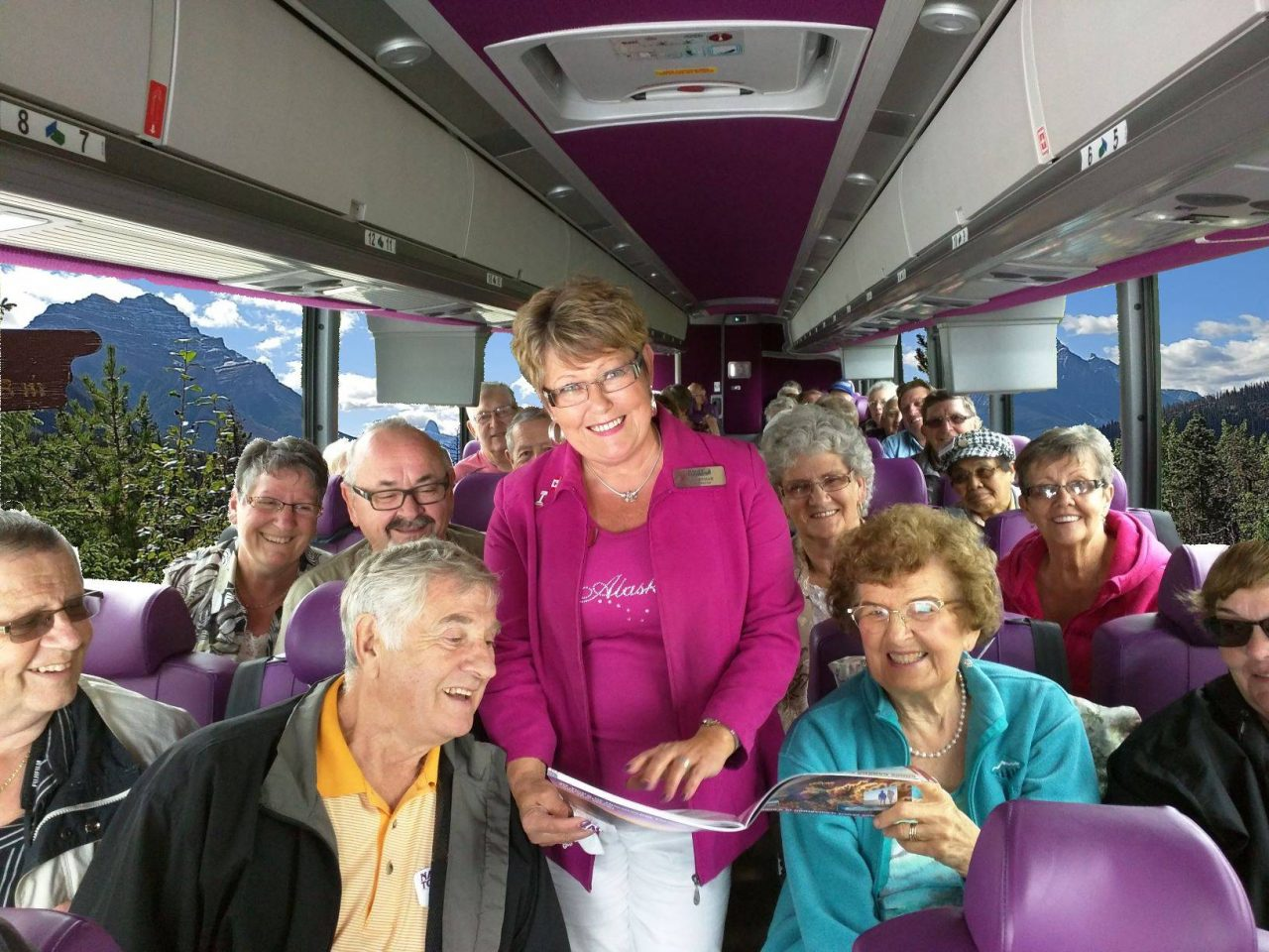 happy people on motor coach